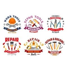 Repair tool and building instrument badge set vector image vector image