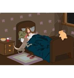 sick sleeping girl vector image vector image