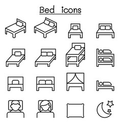 bed icon set in thin line style vector image