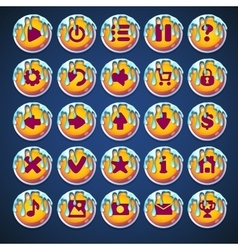 Set buttons with caramel streaks vector image