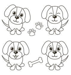 set of cute dogs isolated on white vector image vector image