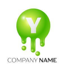 y letter splash green dots and bubbles letter vector image