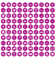 100 basketball icons hexagon violet vector