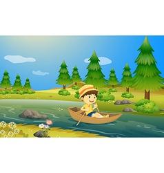 A boy riding a boat vector