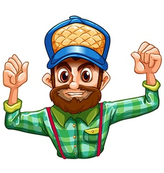 A lumberjack wearing a checkered longsleeve vector image