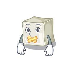 A silent gesture sugar cube mascot cartoon vector