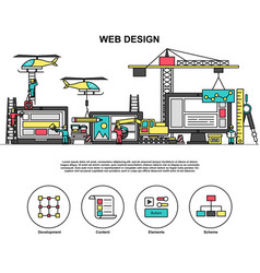 Abstact web design process coding and development vector