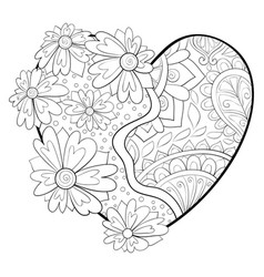 adult coloring bookpage a valentines day heart vector image