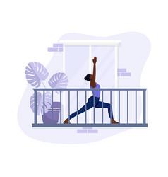 African american girl doing yoga on balcony vector