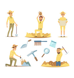 Archaeologist characters at work cartoon vector