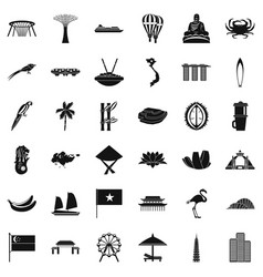 Asian landmark icons set simple style vector