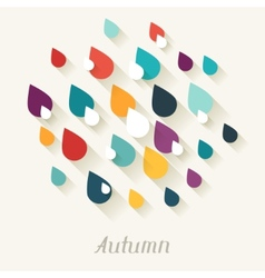 Autumn background with falling drops in flat vector image