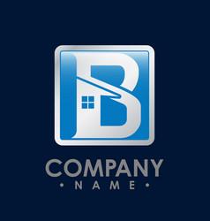 B letter shield house icon logo design template vector