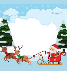 Background template with santa riding sledge vector