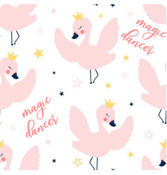 Ballet swan seamless pattern print design vector