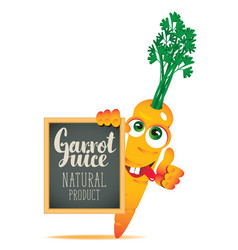 banner for fresh juice with funny carrot vector image