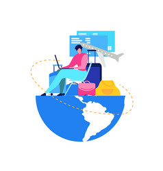 booking flight tickets online flat concept vector image