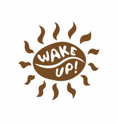 brown coffee bean sun with beams icon vector image