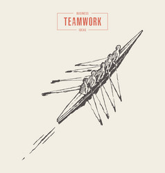 business canoeing team teamwork sketch a together vector image