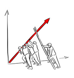 businesspeople help the red arrow chart up vector image