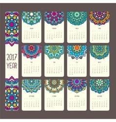 Calendar 2017 with mandalas vector