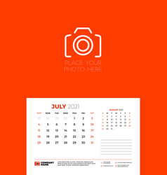 Calendar for july 2021 week starts on sunday wall vector