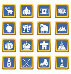 canada travel icons set blue square vector image