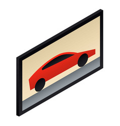 car wall picture icon isometric style vector image