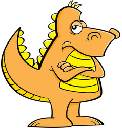 Cartoon angry dinosaur with his arms crossed vector