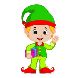 Cartoon elf holding gift box vector