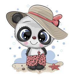 Cartoon panda on beach in a straw hat vector