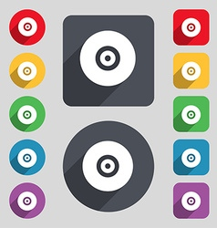 CD or DVD icon sign A set of 12 colored buttons vector image