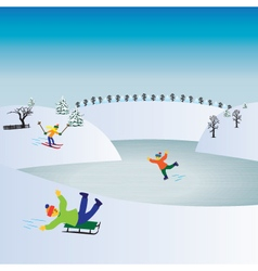 Children and winter sports Kids playing winter gam vector image