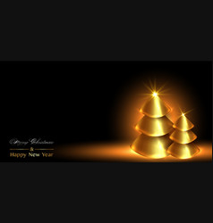 christmas and happy new year banner gold xmas pine vector image