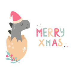Christmas holiday card with cute dino in santa hat vector