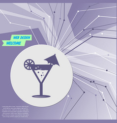 cocktail party martini icon on purple abstract vector image