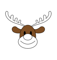 Color silhouette image cartoon cute face reindeer vector