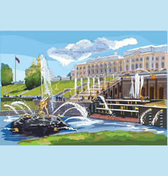 colorful hand drawing st petersburg 7 vector image