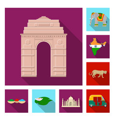 Country india flat icons in set collection for vector