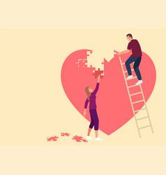 Couple assembling heart symbol vector