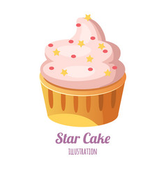 Cupcake with whipped cream vector