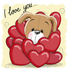 cute cartoon puppy in hearts vector image