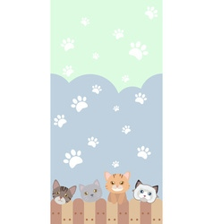 cute cat seamless pattern background with fence vector image