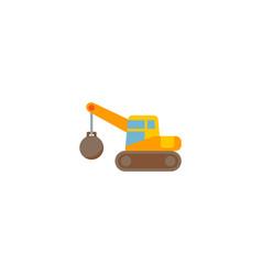 Demolition crane icon flat element vector