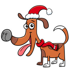 dog with scarf on christmas cartoon vector image