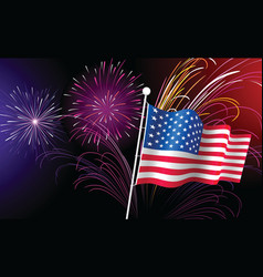Fireworks and american flag vector