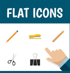 Flat icon stationery set of straightedge clippers vector