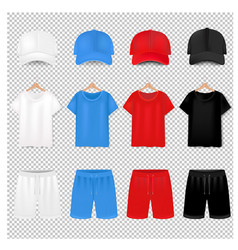 front views t-shirt and baseball cap and short vector image