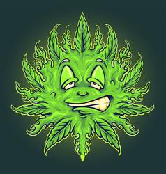 green weed emoji sun mascot vector image