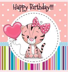 Greeting card cute cartoon tiger vector